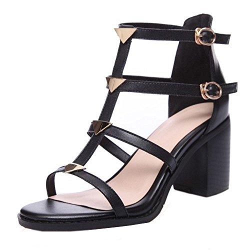 Black Shoes Open Toe SM Women Pumps Wrap Heel COOLCEPT Ankle Block Fashion Sandals v8xBq7qw