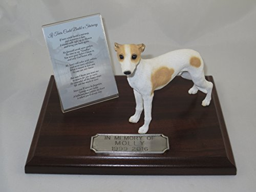 Beautiful Walnut Finished Personalized Memorial Plaque With Tan & White Whippet Figurine