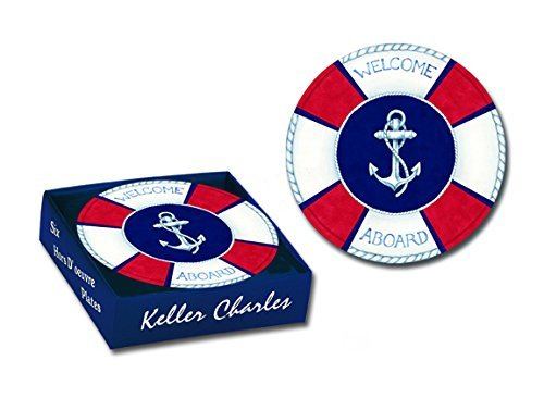 6 Melamine Hors D' Oeuvre Plates, Nautical Welcome Aboard, 6 Inch Diameter