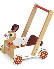 Janod looplerwagen van hout Crazy Rabbit.