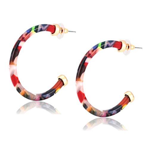 MOLOCH Hoop Earrings for Women Statement Acrylic Open Hoop Earrings Bohemia Tortoise Shell Stud Dangle Earrings Fashion Jewelry (Floral)