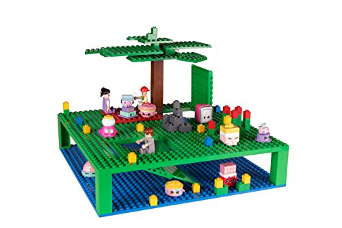 Strictly Briks Classic Trap & Gap 10 x 10 Blue & Green Stackable Baseplate Set 1 Baseplate, 1 Trap Door & Gap Baseplate, 5 Stackers   100% Compatible with All Major Brands