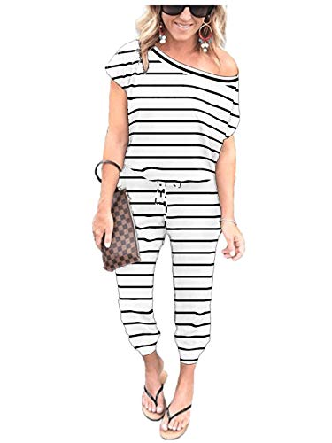 ANRABESS Women's Striped Slanted One Shoulder Belted Jumpsuits Short Sleeve Summer Long Pant Romper with Pocket CXJbaihei-L WFF04 ()