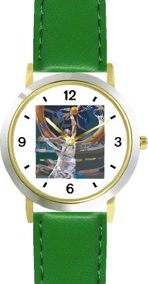 High Action Basketball Art No.1 Basketball Theme - WATCHBUDDY DELUXE TWO-TONE THEME WATCH - Arabic Numbers - Green Leather Strap-Women's Size-Small by WatchBuddy