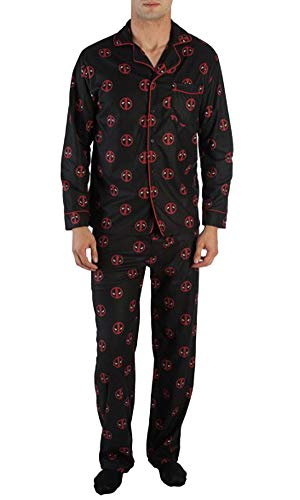 Marvel Comics Deadpool Allover Logo Print Men's Pajama Set (Large)
