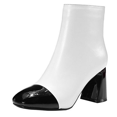 zapatos Toe mujeres's Botines bloque White Las corto plataforma de Square amp;X tacones con QIN zEIqTvI