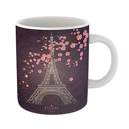 Emvency Funny Coffee Mug Paris Vintage of Eiffel Tower on Grunge France Stamp Abstract Aged Architecture 11 Oz Ceramic Coffee Mug Tea Cup Best Gift Or Souvenir -