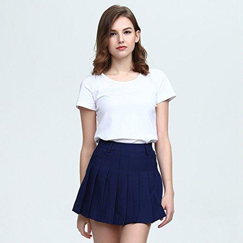 Haute Plisse Elastique Jupes En Jupe Polyester vase Mini Taille Femme Slim Heheja Courte Navy Patineuse zgqaR0B