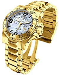 Invicta 6257 Men's Excursion Reserve MOP Blue Dial Gold Plated Steel Bracelet Chronograph Dive Watch - Excursion Blue Dial