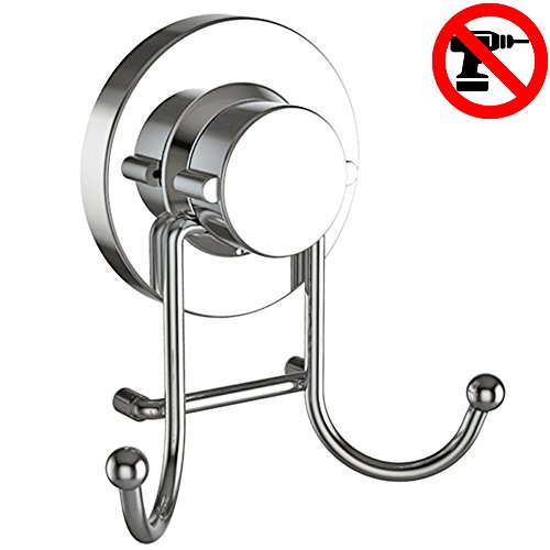 HOME SO Towel Hook with Suction Cup Holder - Bathroom Shower Kitchen Removable Hooks Hanger for Bath robe, Towels, Coat, Loofah - Stainless Steel, Chrome