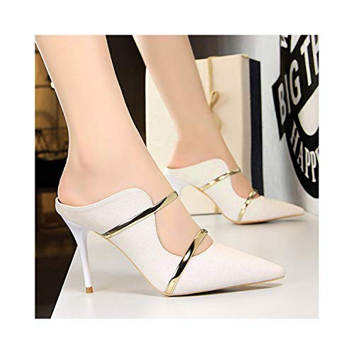 Perceive DA Pumps Women Sexy High Heels Fashion Women Stiletto Gold Women Wedding Shoes New Party Shoes Lady Slippers,White,8
