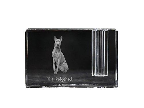 Thai Ridgeback, crystal pen holder with dog, souvenir, desk accessory, limited edition by Art Dog Ltd.