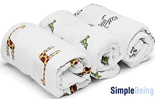(SimplyLife Home Swaddle Blankets Baby Wrap, Soft Breathable Muslin Cotton, Adjustable Infant Swaddles, Perfect for Receiving (Boy))