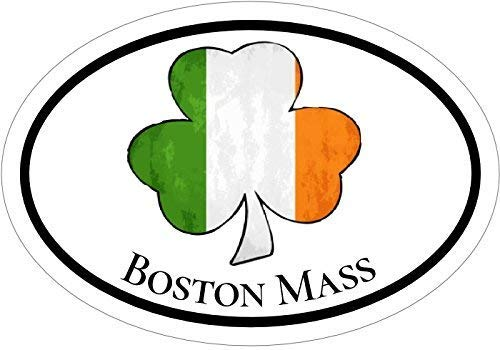 (BOSTON Decal - Oval Irish Flag Shamrock Boston Massachusetts Vinyl Sticker - Boston Bumper Sticker - Shamrock Decal - Irish Decal - Perfect City of Boston Gift - Made in the USA Size: 4.7