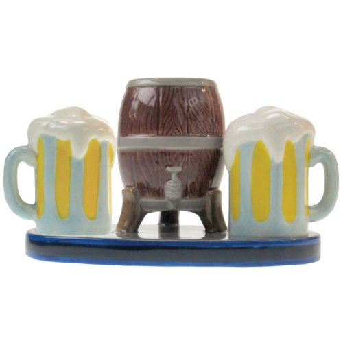 (Westland Giftware Mwah Beer Keg and Mugs Magnetic Ceramic Salt and Pepper Shaker with Toothpick Holder Set, 3.25-Inch)