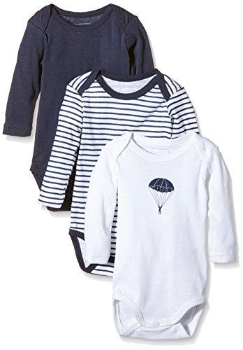 NAME IT Baby-Jungen Body NITBODY LS NB B NOOS, 3er Pack, Gr. 68, Mehrfarbig (Dress Blues)