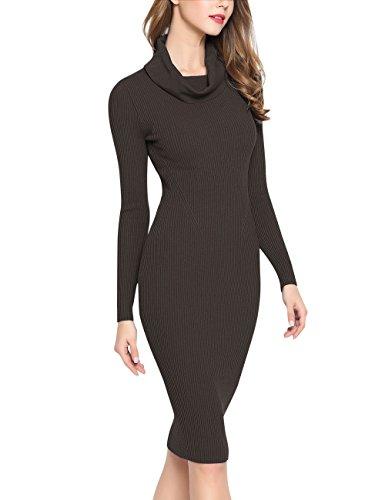 Rocorose Women's Cowl Neck Classic Bodycon Strechable Basic Sweater Dress Deep Coffee XL