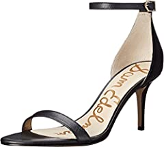 Sleek heeled sandal with slim ankle and toe straps