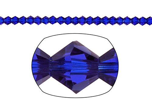 Crystal Bead, 16-Facet Bicone Cut, Sapphire Blue, 3mm sold per 16inch string