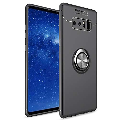Avalri Samsung Galaxy Note 8 Case, Thin Soft Full Protective 360 Degree Rotating Ring Kickstand Cover with Magnetic Car Mount for Galaxy Note 8 (Black)