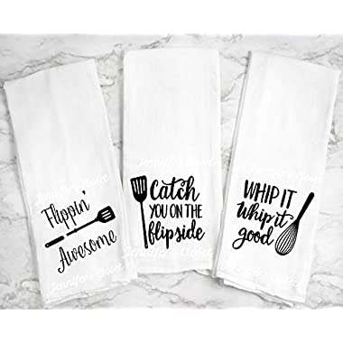 Flippin Awesome, Catch you on the Flipside, Whip it whip it good, Towel Set of 3, Funny Kitchen towels, flour sack towels, large lint free cotton towels with sayings