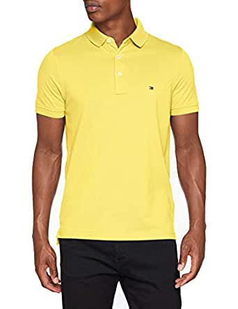 TOMMY HILFIGER Men's Slim Fit Polo Shirt, Freesia HTR, X-Small