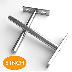 HIDDEN WALL FLOATING SHELF BRACKET (Set of Two), 5-inch T-shape Metal Fabricated, Concealed Heavy Duty Silver-colored Shelf Support Bracket for Wall Furniture