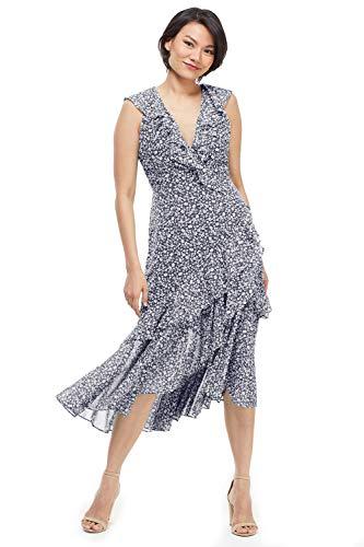 Maggy London Women's Adeline Ruffle 12 Navy Blue - Maggy London Chiffon Dress