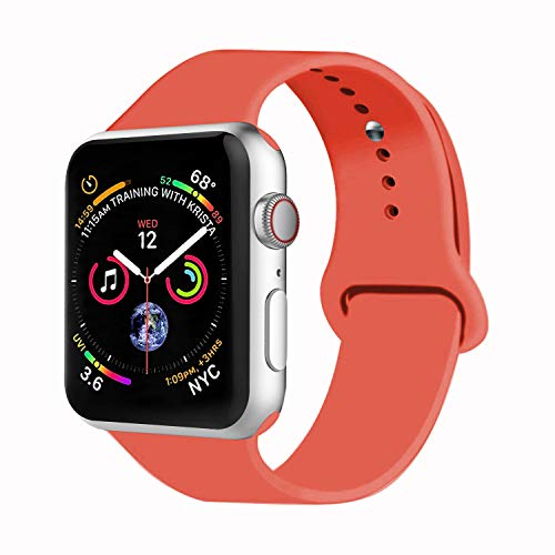 VATI Sport Band Compatible with Watch Band 38mm 42mm 40mm 44mm, Soft Silicone Strap Replacement Bands Compatible with Smart Watch Series 4/3/2/1 S/M M/L(Apricot,38mm S/M)