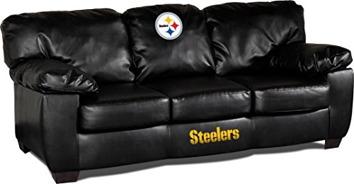 Imperial Officially Licensed NFL Furniture: Classic Leather Sofa/Couch, Pittsburgh  Steelers