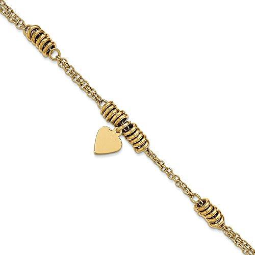 Bracelet poli 14 carats Cœur - 19 cm-JewelryWeb