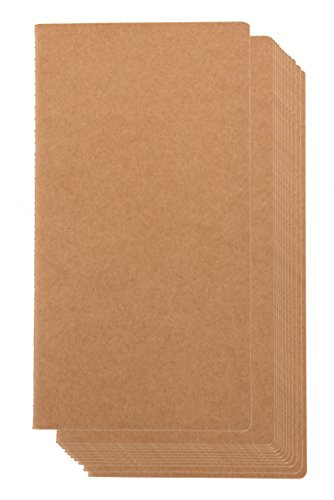 Kraft Notebook - 12-Pack Lined Notebook Journals, Pocket Journal for Travelers, Diary, Notes - H5 Size, Soft Cover, 80 Pages, Brown, 8.26 x 4.4 Inches
