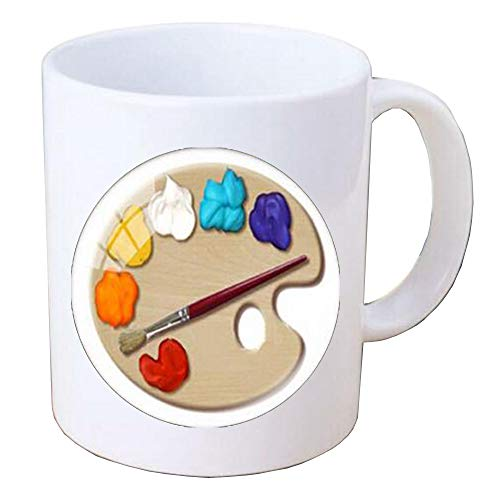 - Color Palette Photo Cabochon Glass Mug Coffee Mug Art Picture Handmade Jewelry,colorful Coffee Mug,artist paintbrushes,artist gifts,PU121