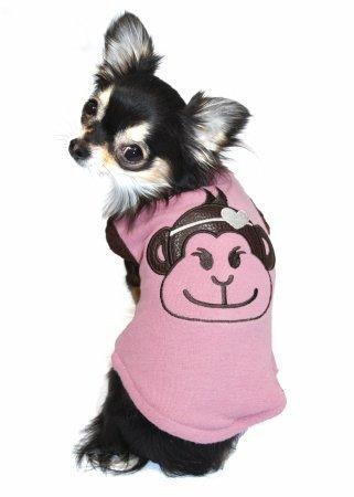 Hip Doggie Pink Monkey Sweater Vest, X-Small, My Pet Supplies