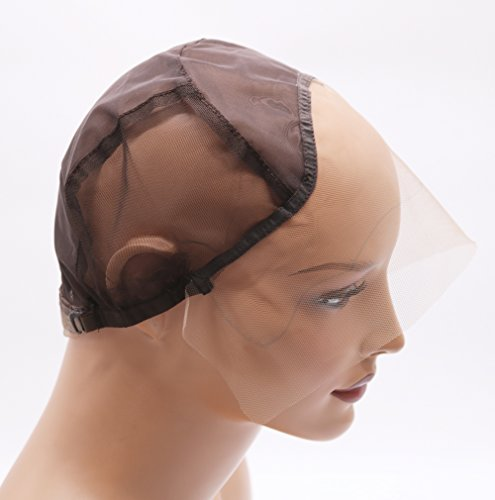 Fantasy Beauty DIY Wig Cap Glueless Full Lace Wig Cap with Ear to Ear Stretch and Adjustable Straps (Lace Front Cap, Medium Color and Size) Make Full Lace Wig