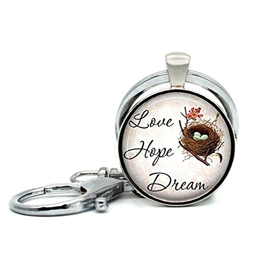 Keychain Round Pendant Sayings Love Hope Dream Pendant Art Glass Cabochon Key Rings Stainless Steel Metal Handmade Charm Pendants ()