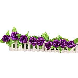 Yu2d  Artificial Fake Silk Rose Flower Ivy Vine Hanging Garland Wedding Decor (Multicolor,B) 108