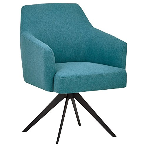 "Rivet Mid-Century Swope Curved Arm Swivel  Office Chair, 26""W, Aqua"