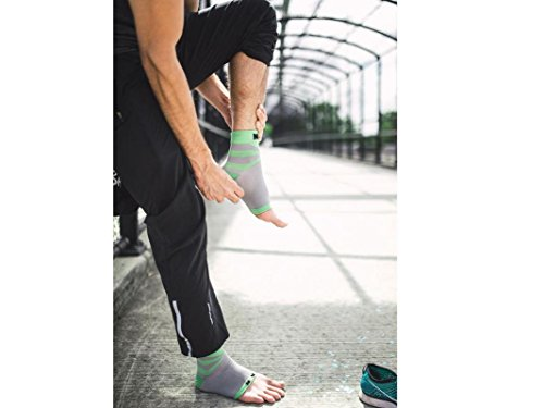 Plantar Fasciitis Sock, Compression Socks for Men Women Nurses Runners Ankle Sleeve for Arch and Achilles Heel Pain and Support,Gray/green,Large