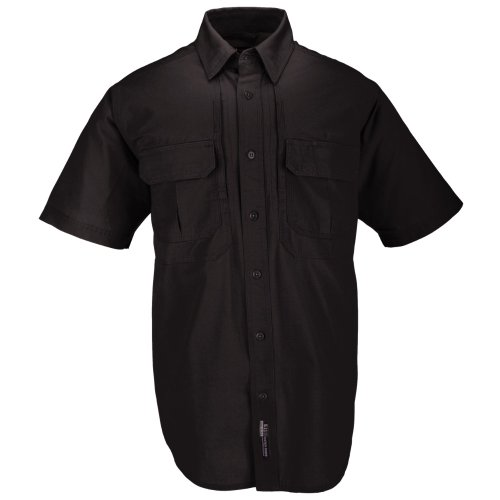5.11 Tactical Cotton Tactical Short Sleeve Shirt, Black, X-Large - Airline Map
