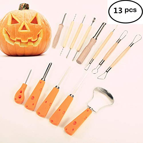 13 Piece Sturdy Stainless Steel Pumpkin Carving Tool Kit for Halloween Creative Carving