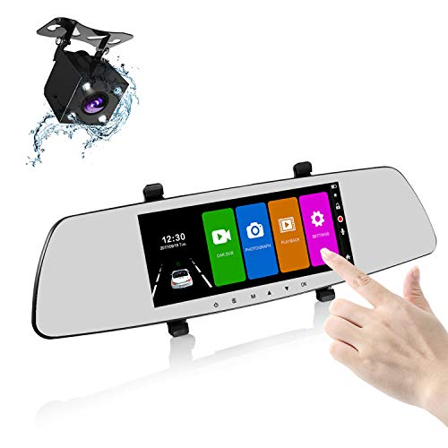 SENDOW Mirror Dash Camera 7 Inch 1080P IPS Touch Screen 170