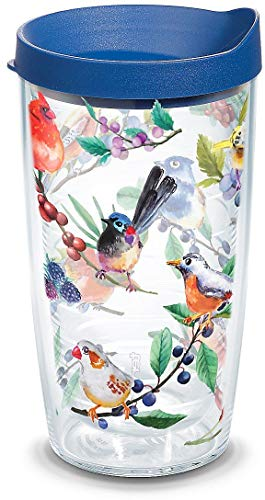 Tervis 1208409 Watercolor Songbirds Insulated Tumbler, 16oz, Clear