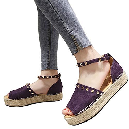 Peep Toe Espadrille Wedges Discount,melupa Ladies Rivet Flat Playform Buckle Woven Thick-Bottom Sandals Roman Shoes