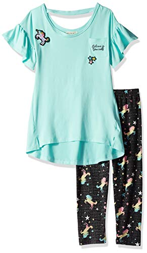 (One Step Up Girls' Big 2 Pc Knit Top and Legging Set, Mint Unicorn)