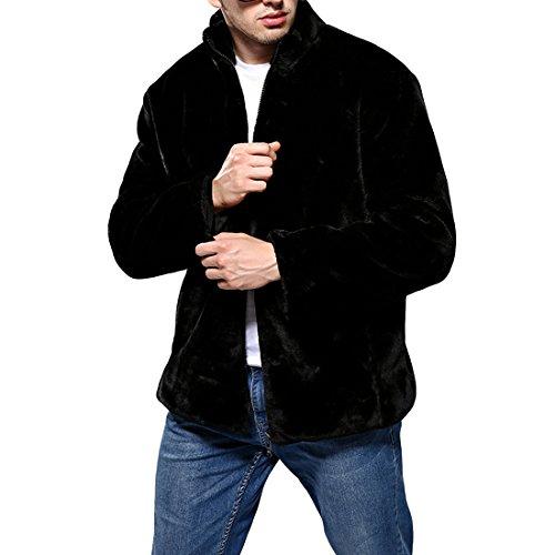 JTENGYAO Men's Faux Mink Fur Coat Stand Collar Outerwear Winter Jacket With Zipper