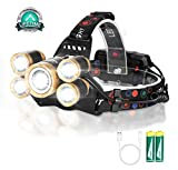 Headlamp Rechargeable,12000 Lumen Ultra Bright 5 LED Headlight Flashlight,Brightest USB Rechargeable Headlamps,Waterproof Zoomable Head Lamp 4 Modes Light for Outdoors Camping Hunting Hiking Hard Hat