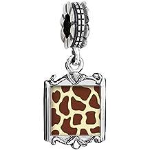 Silver Plated giraffe skin Photo Family Mom & Baby Girl & Dad Dangle Bead Charm Bracelet