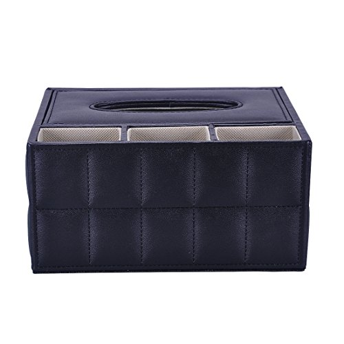 iSuperb Leather Desk Organizer Water Resistant Tissue Box Stationery Remotes Storage Box Holder Case 8x6.9x3.7 inch (Black)