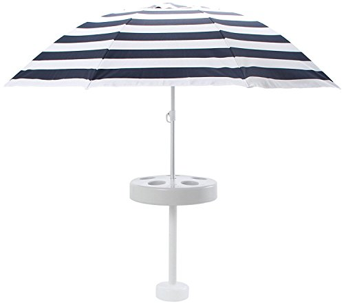 Pool Buoy Plus Floating Umbrella and Buoy – Navy and White